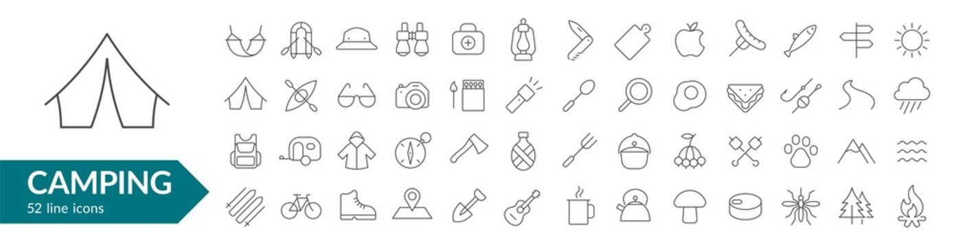 Camping line icon set. Isolated signs on white background. Vector illustration. Collection