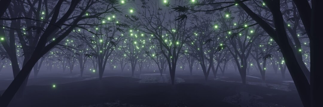 abstract Glowing particle Sparkles on alien planet landscape forest 3d rendering