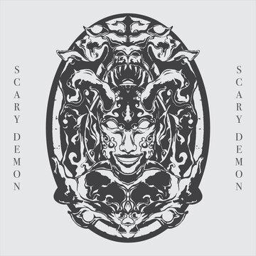 mythical demon artwork detailed vector line art illustration