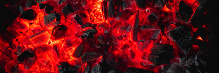 Wall Murals Firewood texture hot red coals among black ash, wallpapers for mobile devices, abstract