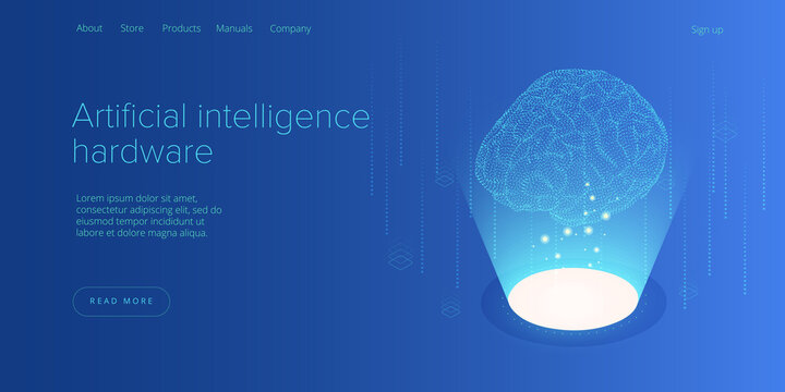 Artificial intelligence or neural network concept in isometric vector illustration. Neuronet or ai technology background with robot and human female. Web banner layout template.