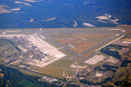 An aerial view of Maguire Air Force Base, New Jersey