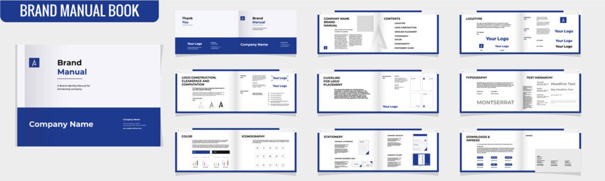 Landscape Brand Manual Template Brochure Brand Guideline Brochure Brand Book bi fold brochure