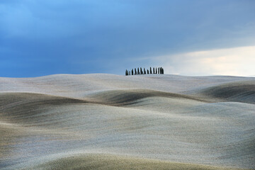 Landscape of autumn field with cypresses in Tuscany, Italy