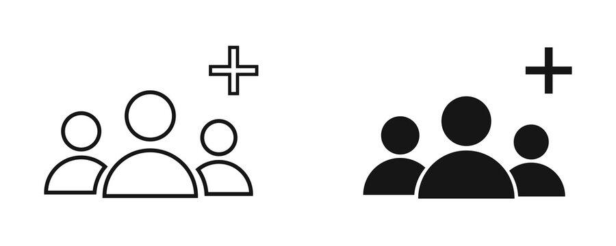 Add group vector icon. Plus person symbol.