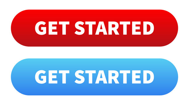 Get started button. Vector isolated push button.