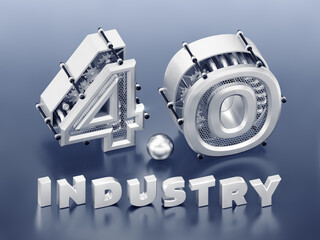 «4.0 Industry» Typography. Three-dimensional digits, which are represents abstract mechanisms composed into the number «4.0» and standing behind of the word «Industry». 3D rendering graphics.