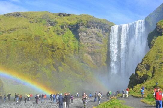 rainbow over the waterfall Skogafoss Iceland