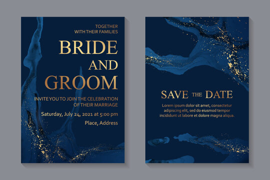 Modern abstract luxury wedding invitation design or card templates for birthday greeting or certificate or cover with navy blue watercolor waves or fluid art in alcohol ink style with gold.