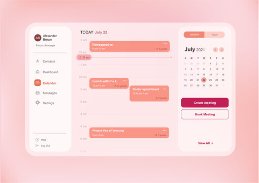 Modern web interface of calendar dashboard with time and meetings schedule and side menu, light pink color scheme