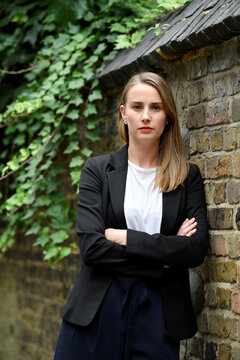 Freelance journalist Walters is pictured near her home after speaking to Reuters in London