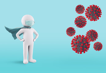 Concept of defense against virus infection with face mask. 3D Rendering