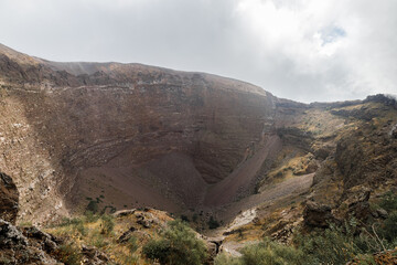 A view of the crater of Mount Vesuvius, Italy