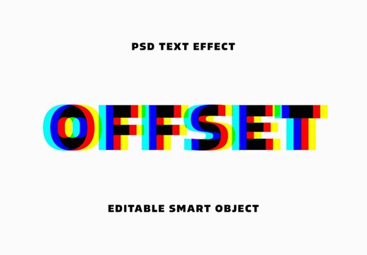 Anaglyphic Stereo Offset Text Effect Mockup
