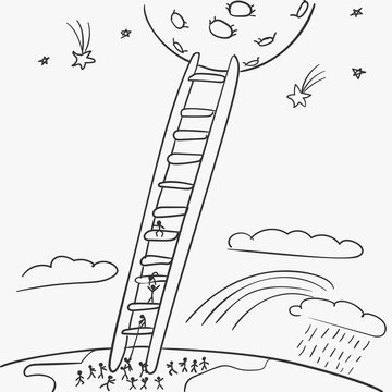 Stick figure people escaping from earth to moon climbing on ladder, Vector doodle, simple line drawing