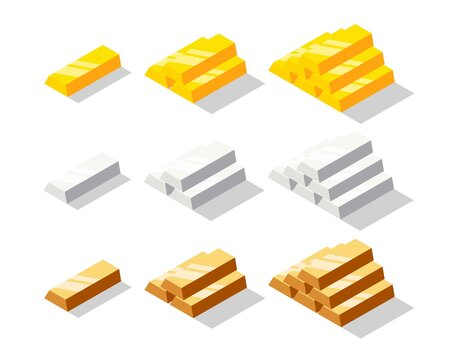 Isometric golden, silver and bronze bars set