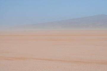 Sandstorm on the Lac Iriki salt lake / Sandstorm in the Sahara, on the Lac Iriki salt lake, Morocco, Africa.