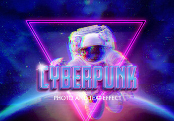 Cyberpunk Style Text and Photo Effect