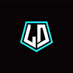 Fototapeta Initial L D letter with polygon modern style logo template vector obraz
