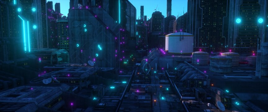 Neon city of a future. Industrial zone in a futuristic city. Wallpaper in a cyberpunk style. Grunge cityscape with bright neon lights and huge futuristic buildings. 3D illustration.