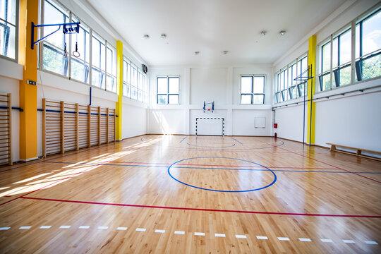 Empty european gym class for school sports for football, basketball and handball