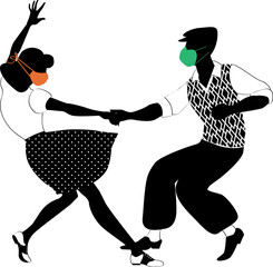 Black vector silhouette of a couple dancing Lindy hop wearing retro fashion clothing and facial masks, EPS 8