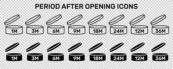 Period after open icons set. PAO symbols. Round box with cap opened. Expiration period in months signs for cosmetic packaging on transparent background.