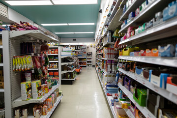 Food on shelves in vacant market