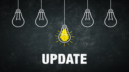 Word Update on a rustic background with 5 light bulbs.