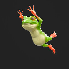 cute little frog is jumping isolated