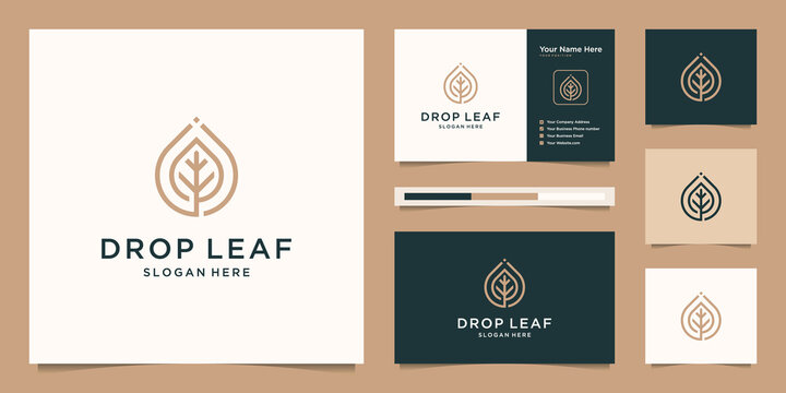 Drop and leaf vector logo with linear. logo design and business card