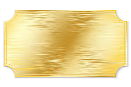 Gold plate. Vector metal plaque made of gold. Brushed old gold board. Stock photo.