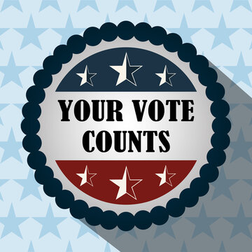 your vote counts buttong stars blue background, politics voting and elections USA, make it count