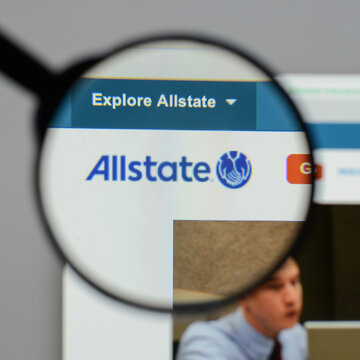 Milan, Italy - August 10, 2017: Allstate website homepage. It is the second largest personal lines insurer in the United States. Allstate logo visible.
