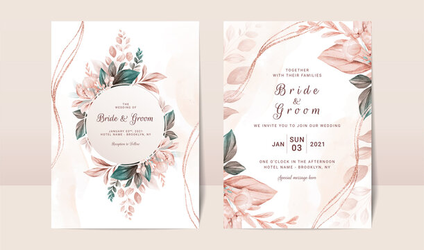 Floral wedding invitation template set with elegant brown leaves decoration. Botanic card design concept