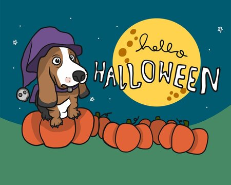Basset Hound dog in Halloween pumpkins farm and full moon cartoon vector illustration