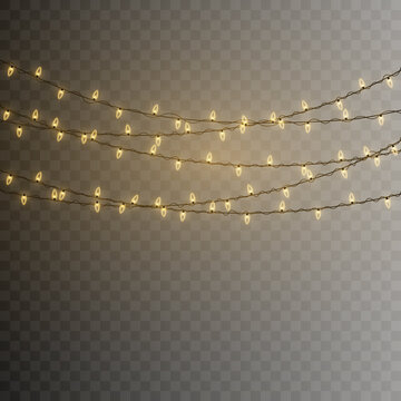 Christmas lights. Vector String with glowing light bulbs.