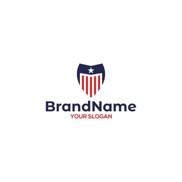 M Shield American Logo Design Vector