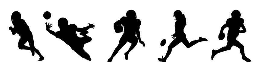 American Football Players Silhouettes Five Vector.