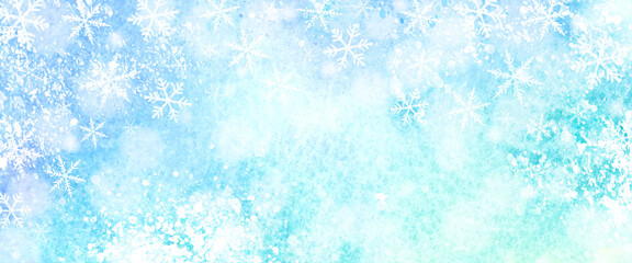 Photo sur Plexiglas Bleu clair キラキラした雪の結晶の水彩背景