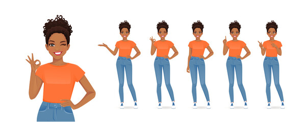 Foto auf Leinwand Vogel auf Asten African young woman in casual style clothes set different gestures isolated vector illustration