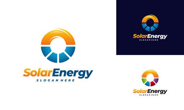 Solar Energy logo designs vector, Sun power logo