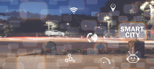 Smart city. Communication. Network. Internet of Things Fotomurales