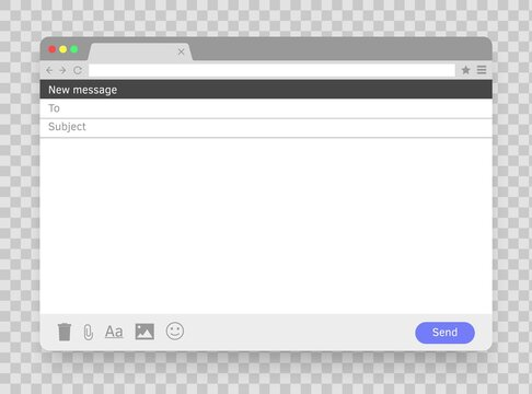 Email message blank window.Window browser. Vector screen page. E-mail empty frame. Mail mock up template.
