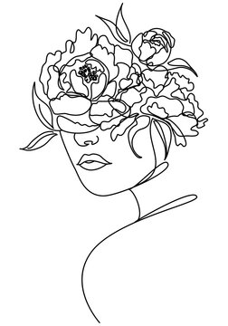 Beautiful woman face with peony flower drawing of continuous line,