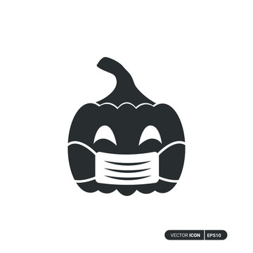 Pumpkin using mask icon. Solid icon of black pumpkin using mask vector design. isolated on white background