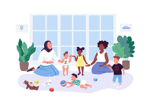 Mothers help mothers flat color vector faceless characters. Mom and baby group. Women spend time with their children isolated cartoon illustration for web graphic design and animation