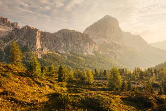 Morning light in Falzarego pass, Italian Dolomites