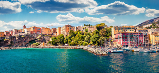 Papiers peints Bleu vert Panoramic spring cityscape of Bastia port. Exciting morning view of Corsica island, France, Europe. Bright Mediterranean seascape with yacht and lighthouse. Traveling concept background.