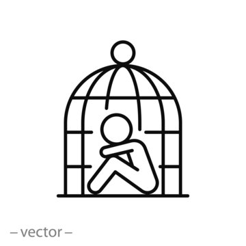 sad human in the cage icon, violence for person, slavery and dependence concept, thin line web symbol on white background - editable stroke vector illustration eps 10